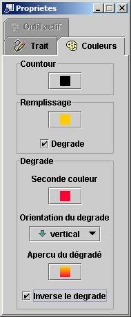 EGV - Fenêtre de propriétés (choix des couleurs)