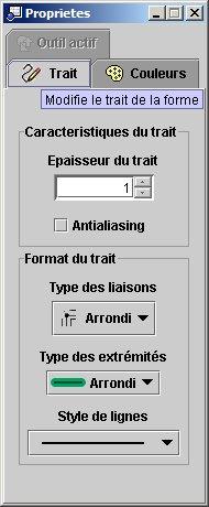 EGV - Fenêtre de propriétés (choix du trait)