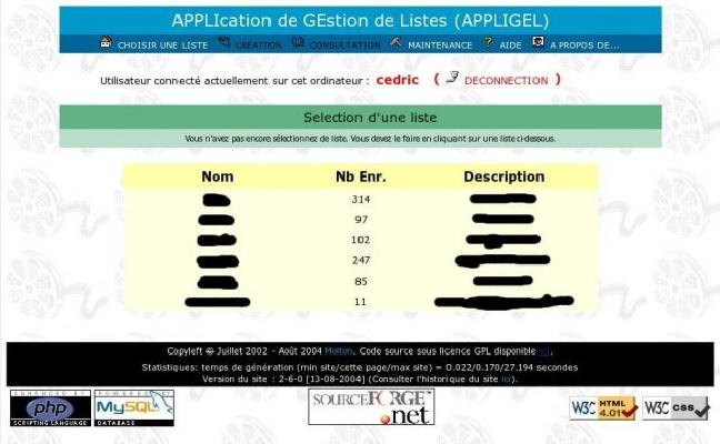 Application de gestion de liste (accueil)